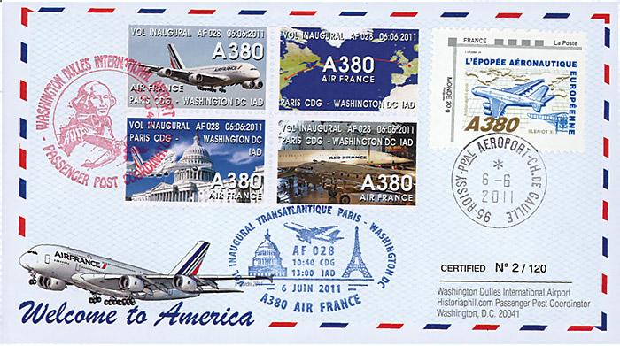 a380 133 ffc france airbus a380 air france 1er vol af028 paris washington 2011 ebay. Black Bedroom Furniture Sets. Home Design Ideas
