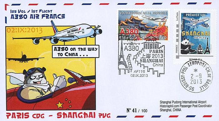 a380 226 ffc france airbus a380 air france 1er vol af116 paris shanghai 2013 ebay. Black Bedroom Furniture Sets. Home Design Ideas
