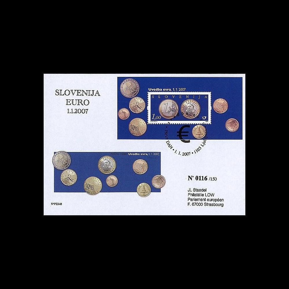 PE546 - 2007 : FDC Slovénie - 1er timbre en Euros