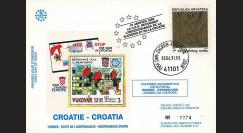 """CR1L-T2 : 1991 - 1er timbre Croatie indépendante """"Cathédrale - dentelure large"""""""