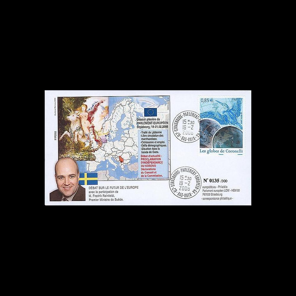 PE552 : 2008 - FDC 1er Ministre de Suède et indépendance Kosovo