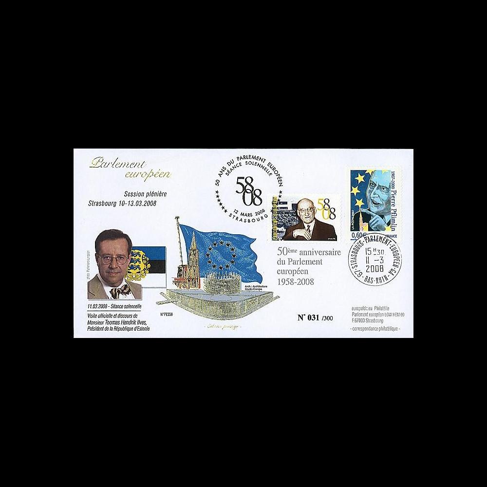 PE558 : 2008 - FDC 50 ans du Parlement européen et Pdt Estonie