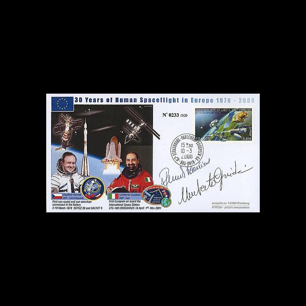 PE554D - 2008 : FDC 30 ans de vol spatial habité en Europe - 2 autographes