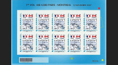 A380-53F : 2007 - Feuillet 20g France '1er vol de présentation Paris - Montreal'