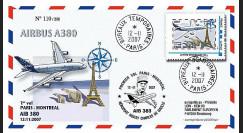 A380-55 : 2007 - FDC France '1er vol de présentation Paris - Montreal'