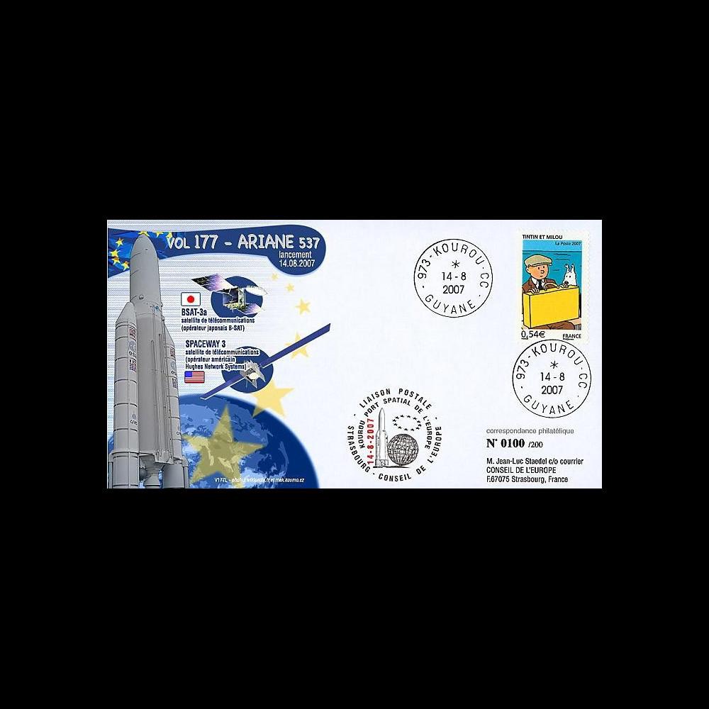 V177L-T1 - France 2007 : FDC Kourou Vol 177 Ariane 537