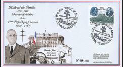 """DG08-1T1 : 2008 - FDC """"1er Jour - Mémorial DE GAULLE"""" (Colombey-les-Deux-Eglises)"""