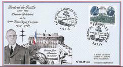 """DG08-1T2 : 2008 - FDC """"1er Jour - Mémorial Charles DE GAULLE"""" (Paris)"""