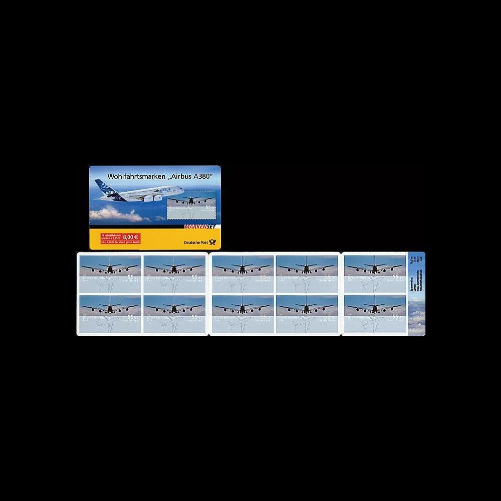 A380-64C : 2008 - Carnet TP de bienfaisance à surtaxe 'A380' adhésif (All)