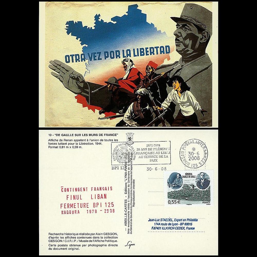 DG08-5CP : 2008 - Carte 'de Gaulle - BPI 125 Finule Liban'