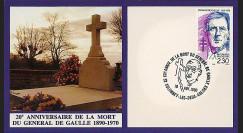 DG90-CP2 : 1990 - Carte Colombey 'XXe anniversaire mort du gal de Gaulle'