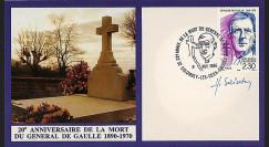 DG90-CP2D : 1990 - Carte Colombey 'XXe anniversaire mort de Gaulle' signée