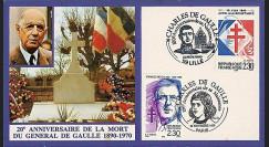 DG90-CP4 : 1990 - Carte '20 ans mort de Gaulle + Lille et Paris 100 ans naissance'