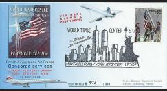 UWS-11 : 2002 - Pli Concorde USA 'Attentats - Twin Towers - Monticello'