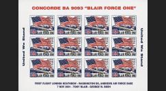 BA 9093-2FND : 2001 - Vignettes Concorde 'Blair Force One' non-dentelées
