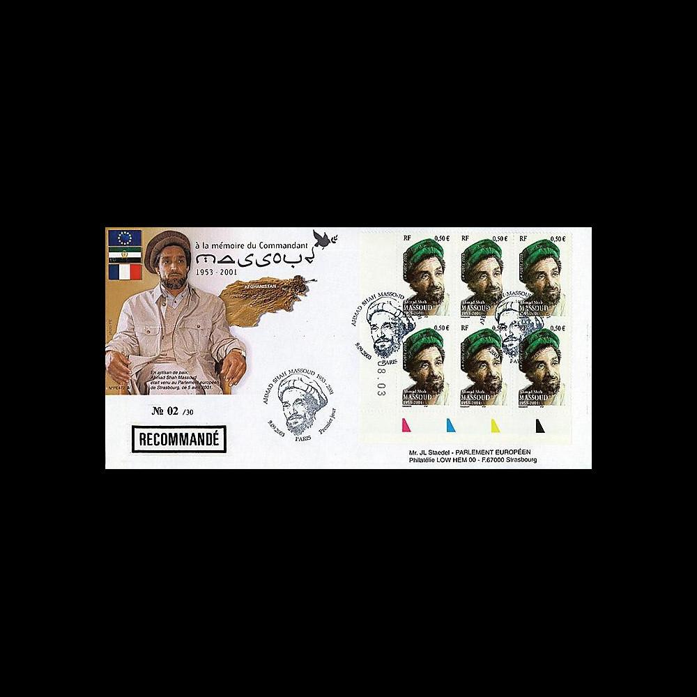 PE472a : 2003 - Recommandée 1er Jour timbre français MASSOUD 1953-2001