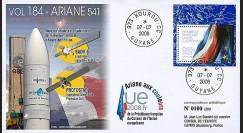 V184L-T1 - 2008 : FDC Kourou Vol 184 Ariane 541 - Présidence franç. de l'UE
