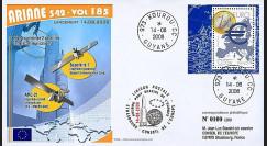 V185L-T1 - France 2008 : FDC Kourou Vol 185 Ariane 542
