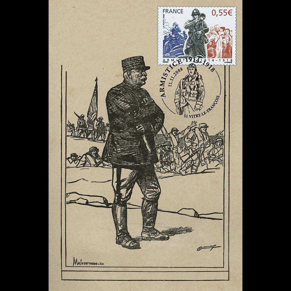 W1 08-3CP : 2008 - Carte maxi 'Armistice - Général Joffre'