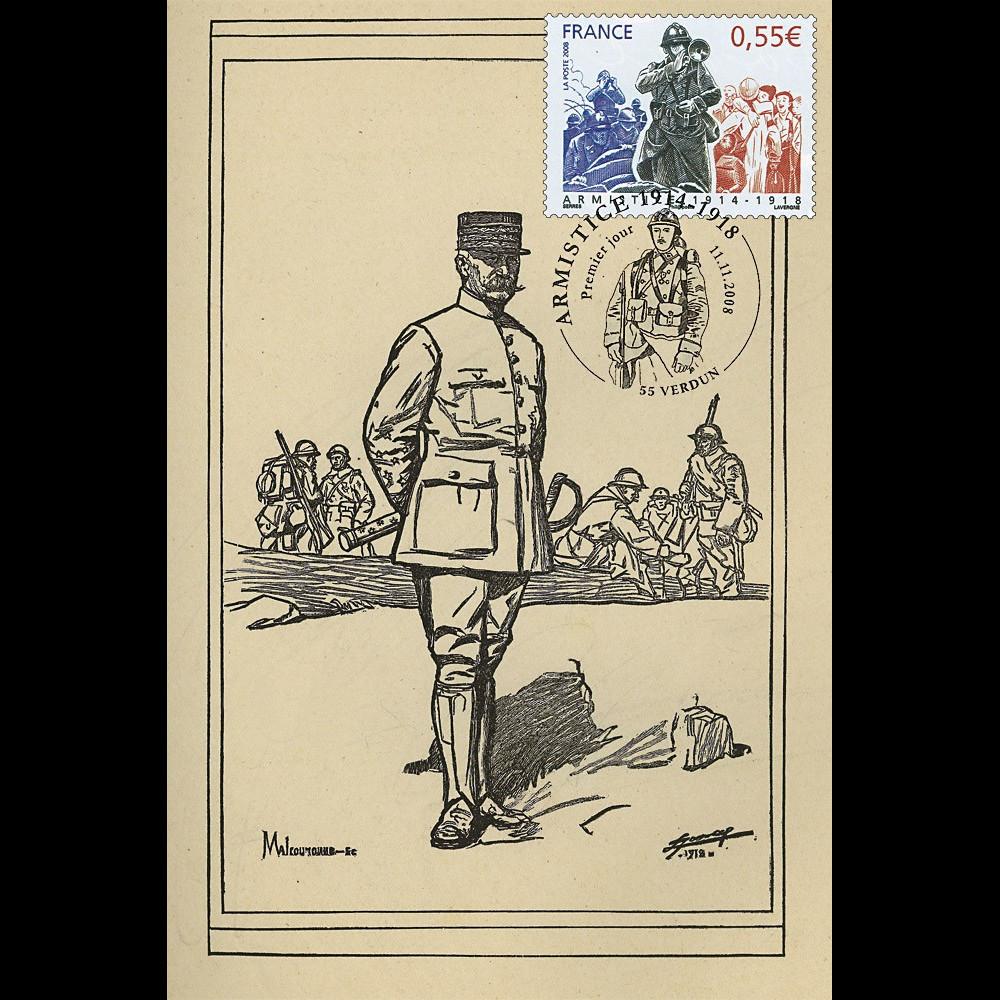 W1 08-4CP : 2008 - Carte Maxi 'Armistice - Maréchal Pétain'