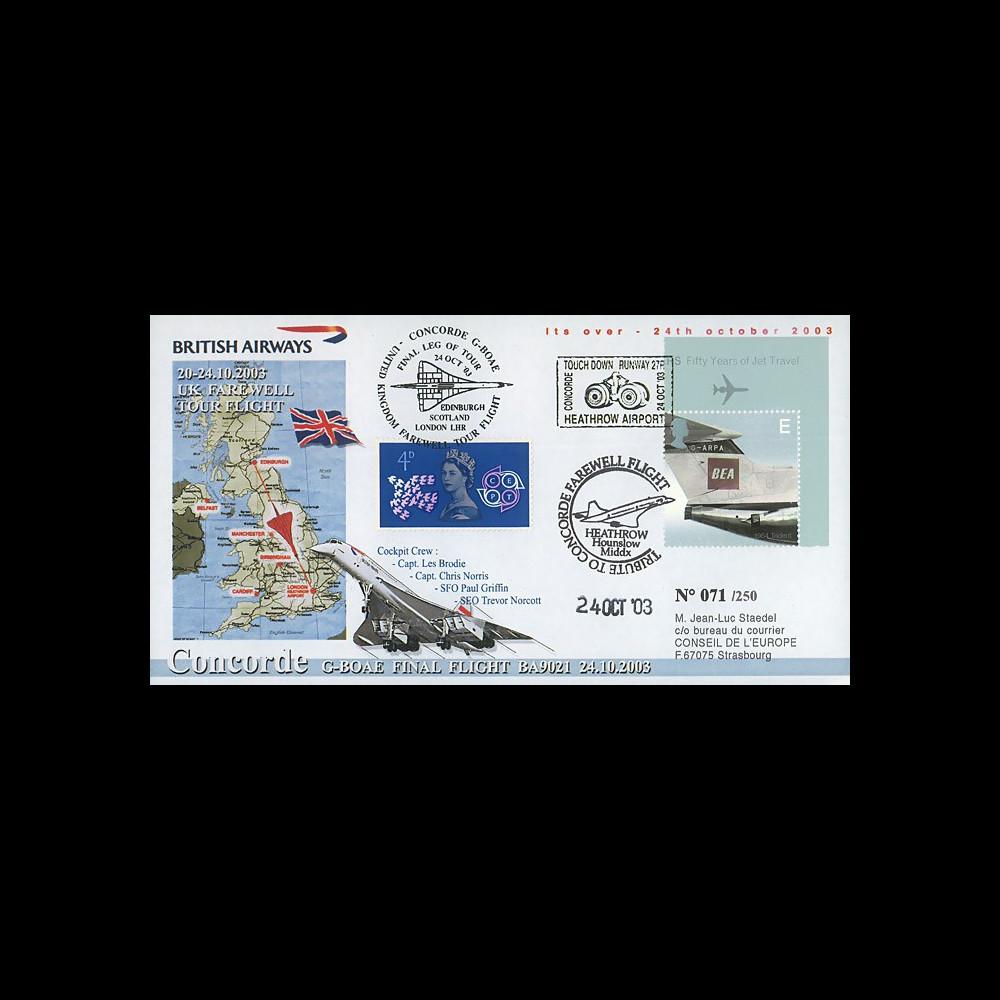 """CO-RET V11 : 2003 - GB - FDC """"Tour d'adieu au Royaume-Uni"""" du Concorde G-BOAE"""