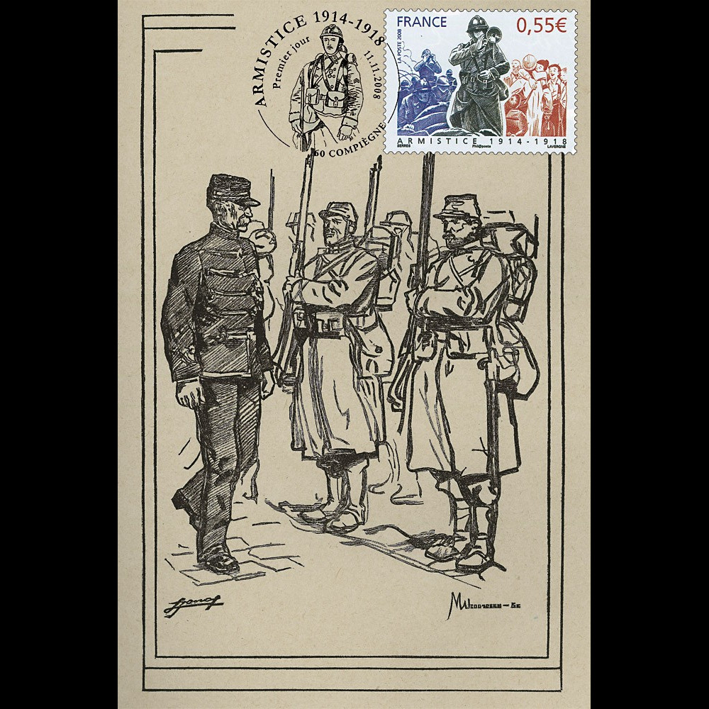 W1 08-6CP : 2008 - Carte maxi 'Armistice - Maréchal Galliéni'