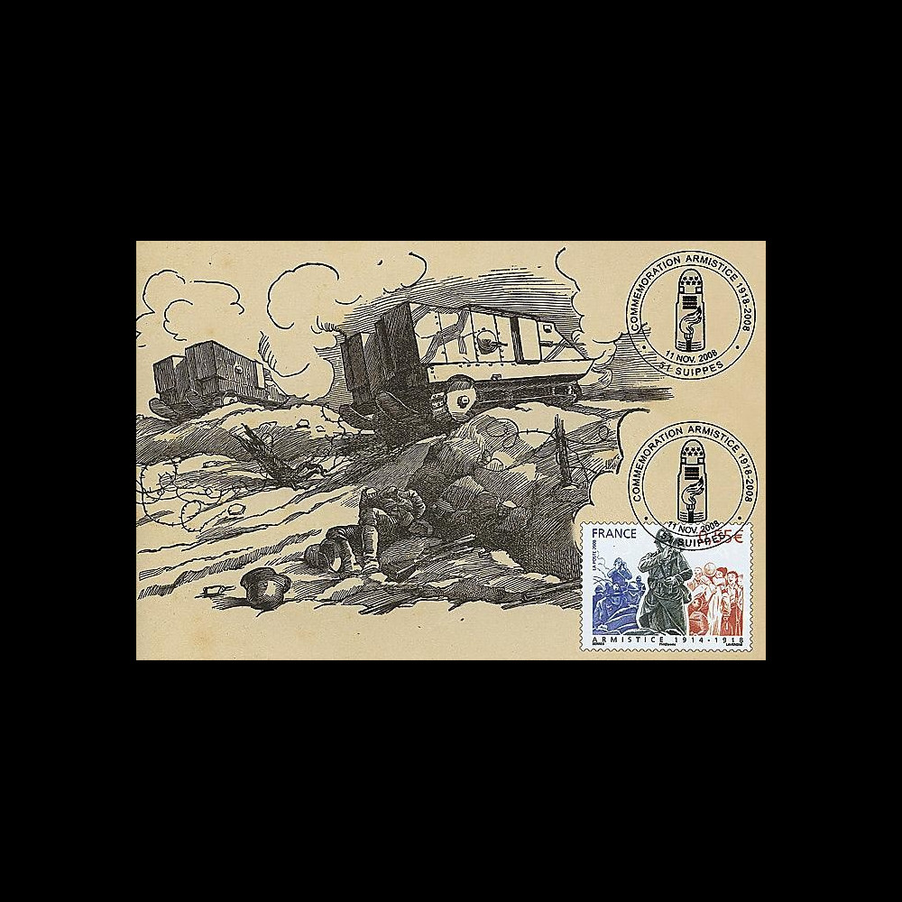 W1 08-10CP : 2008 - Carte maxi 'Armistice - Char Schneider' - Suippes