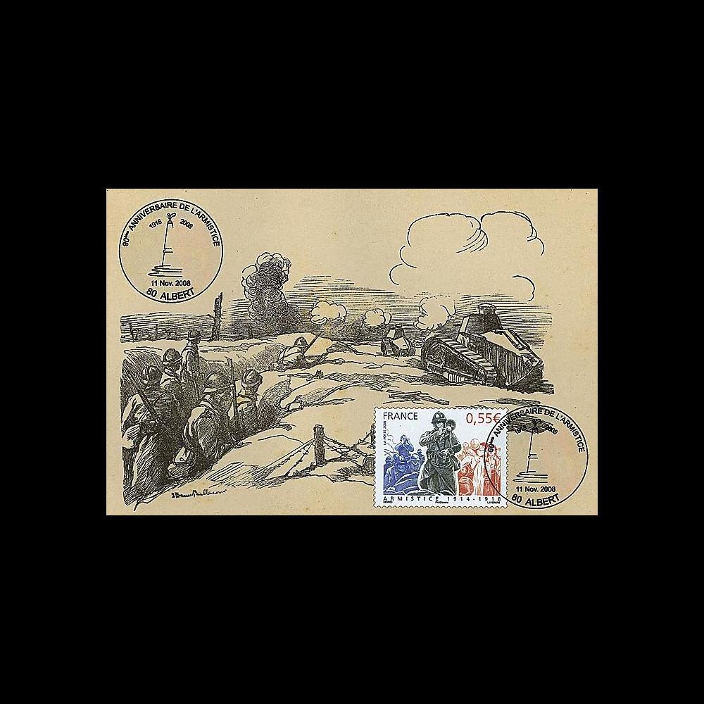 W1 08-12CP : 2008 - Carte maxi 'Armistice - Char Renault' - Albert