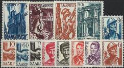 SAR 231-43 : 1948 - Série de 13 valeurs 'Reconstruction' - Sarre