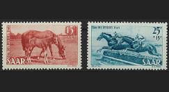SAR 253-54 : 1949 - Série de 2 valeurs 'Journée du Cheval' - Sarre