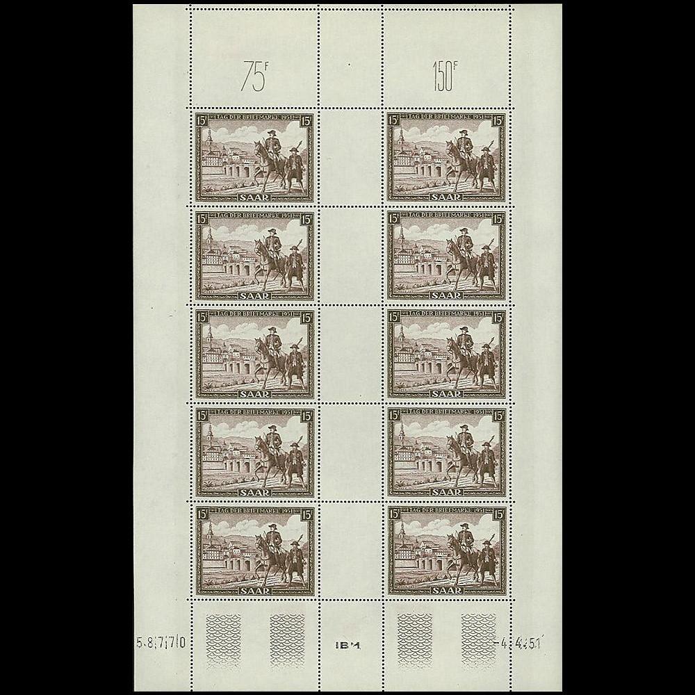 SAR 291F : 1951 - Feuillet 10 valeurs 15f 'Journée du Timbre' - Sarre