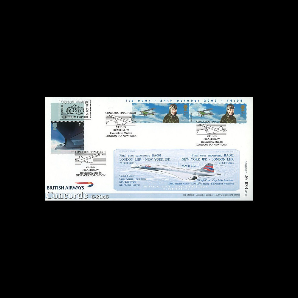 "CO-RET V13 : 2003 - GB - FDC ""Clôture de la ligne New York - Londres"" Concorde BA001"