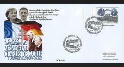 "DG08-6PAP : 2008 - Entier Postal ""Inauguration Mémorial DE GAULLE / SARKOZY & MERKEL"""