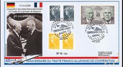 "DG08-10T2 : 2008 - FDC ALLEMAGNE ""BPI 532 SAARBURG à Mayence / DE GAULLE & ADENAUER"""