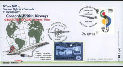 "CO-RET V19 : 2004 - FDC GB ""1er anniversaire du dernier vol Concorde British Airways"""