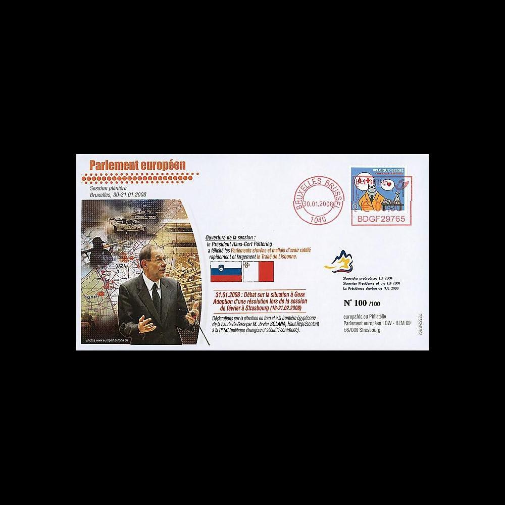 BR93 : 2008 - FDC Bruxelles 'Situation en Iran et à Gaza - M. Solana'