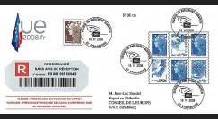 PE561a : 2008 - FDC reco '1er jour d'utilisation carnet Marianne - Prés. franç. de l'UE'