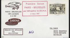 SAB57-H1 : 1957 - Pli '1er vol par hélicoptère SABENA Paris-Bruxelles'