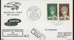 SAB57-H2 T3 : 1957 - Pli '1er vol par hélicoptère SABENA Bruxelles-Paris'