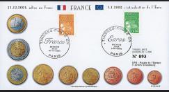 PE445-2 : 2002 - FDC 1er Jour TP 'Introduction de l'Euro' - France