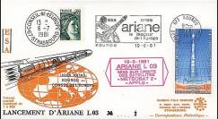 AR 9L : 1981 - FDC '3e lancement d'Ariane L03 réussi'