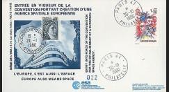 AR 8L : 1980 - FDC 'Entrée en vigueur Convention ESA'
