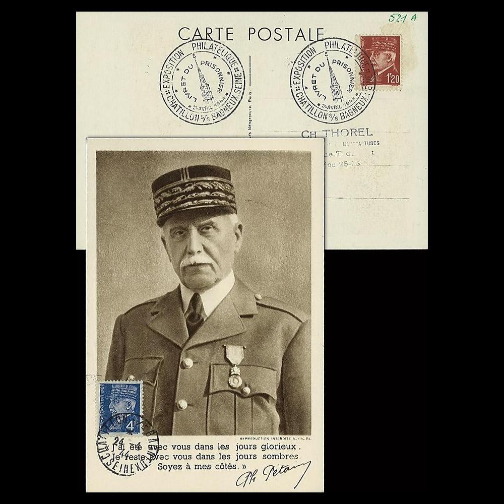 W2-FR521A-A1 : 1944 - CM  'Buste de face - 88 ans Mal Pétain' YT 521A