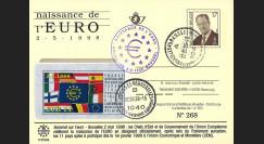 1 PE366 : 1998 - Entier postal belge 'Naissance EURO et 1pays aptes' / cachets A+B