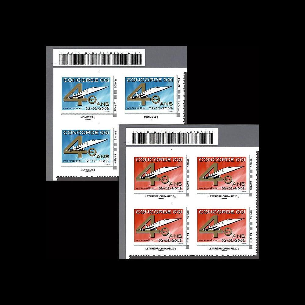 CO-RET40-41B4 : 2009 : 2 blocs de 4 TPP '40 ans 1er vol Concorde 001'