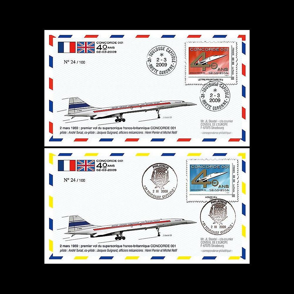 CO-RET40-41 : 2009 : 2 FDC '40 ans 1er vol Concorde 001' - Toulouse