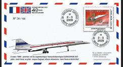CO-RET40 : 2009 : FDC '40 ans 1er vol Concorde 001' - Lettre prio 20g