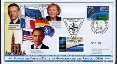 OTAN09-2 : 2009 - FDC 'Sommet 60 ans OTAN - Sarkozy - Obama - Merkel'