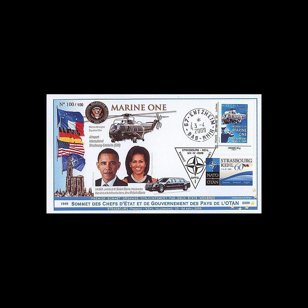 OTAN 09-6 : 2009 - Pli 'Sommet OTAN - Michelle & Barack Obama' Entzheim
