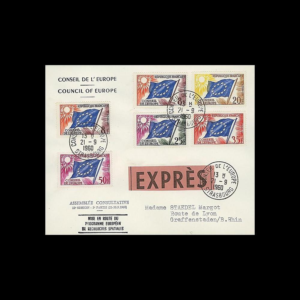 CE12-IIEX : 1960 - FDC EXPRESS 'Mise en route programme eur. de recherches spatiales'